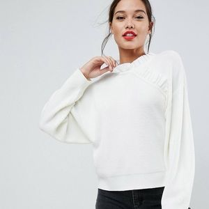 ASOS white sweater with ruffle detail